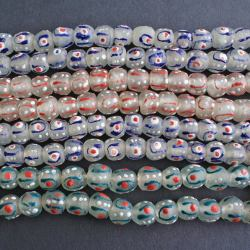 Glass beads,recycled glass beads,14-15mm,African glass beads,round glass bead,recycled glass beads,handmade,blue and green,African art