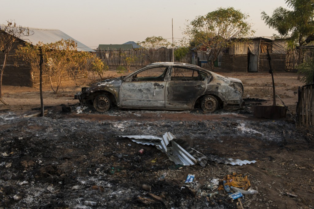 A car that was destroyed by Dinka SPLA government forces on December 16, is seen in the Juba neighborhood of Munuki West, South Sudan, January 19, 2014.