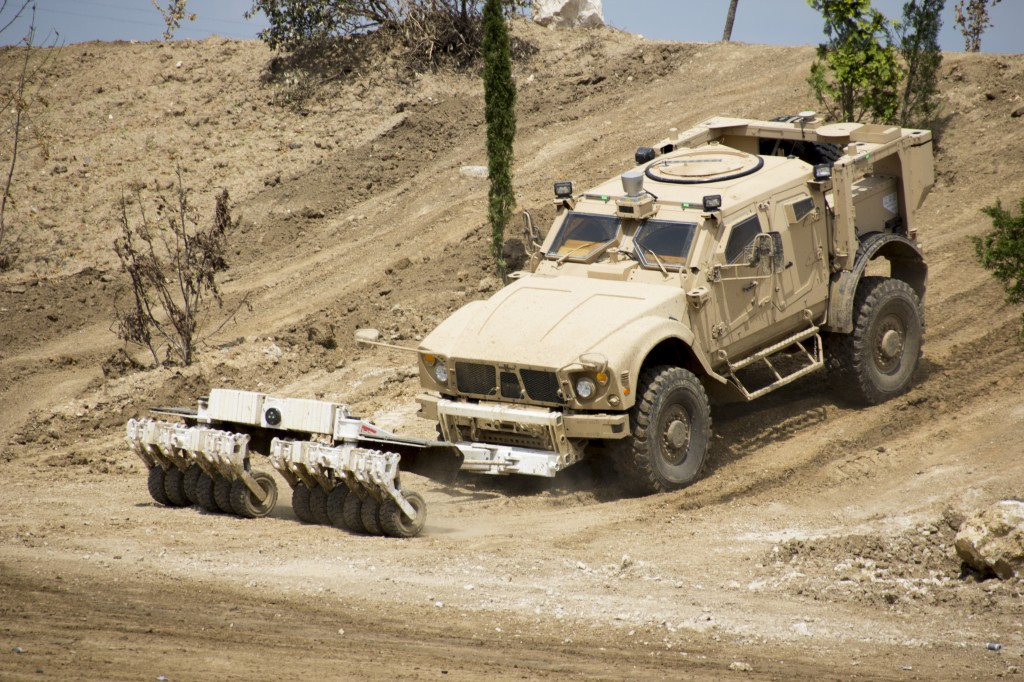 Oshkosh Defence's Terramax unmanned vehicle guidance system installed on an M-ATV that is configured for route clearance operations.