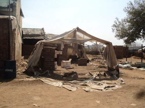 Remains of the bombed out hospital in Frandala village in Sudan. Image via MSF