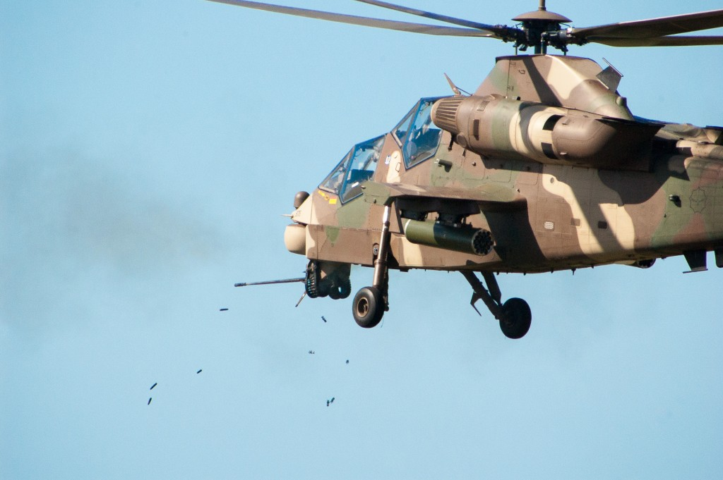A Rooivalk attack helicopter engages a target with its 20mm cannon. ADR/DARREN OLIVIER