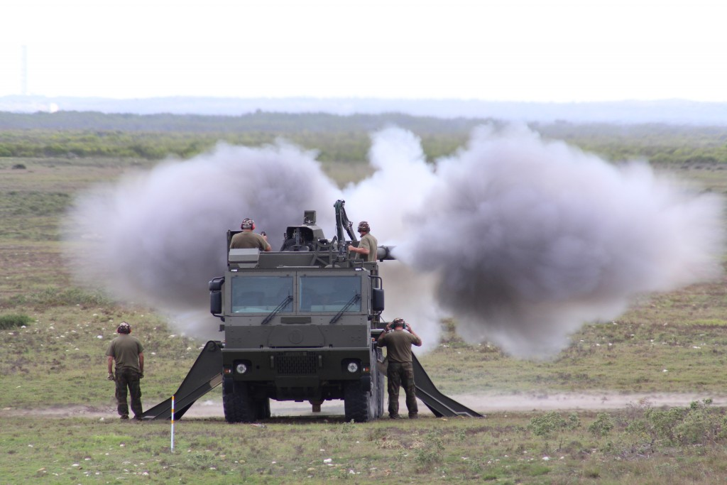 Rheinmetall Denel Defence Day - A Denel Land Systems T5-52 artillery system fires its 155mm cannon at targets in Overberg Test Range.