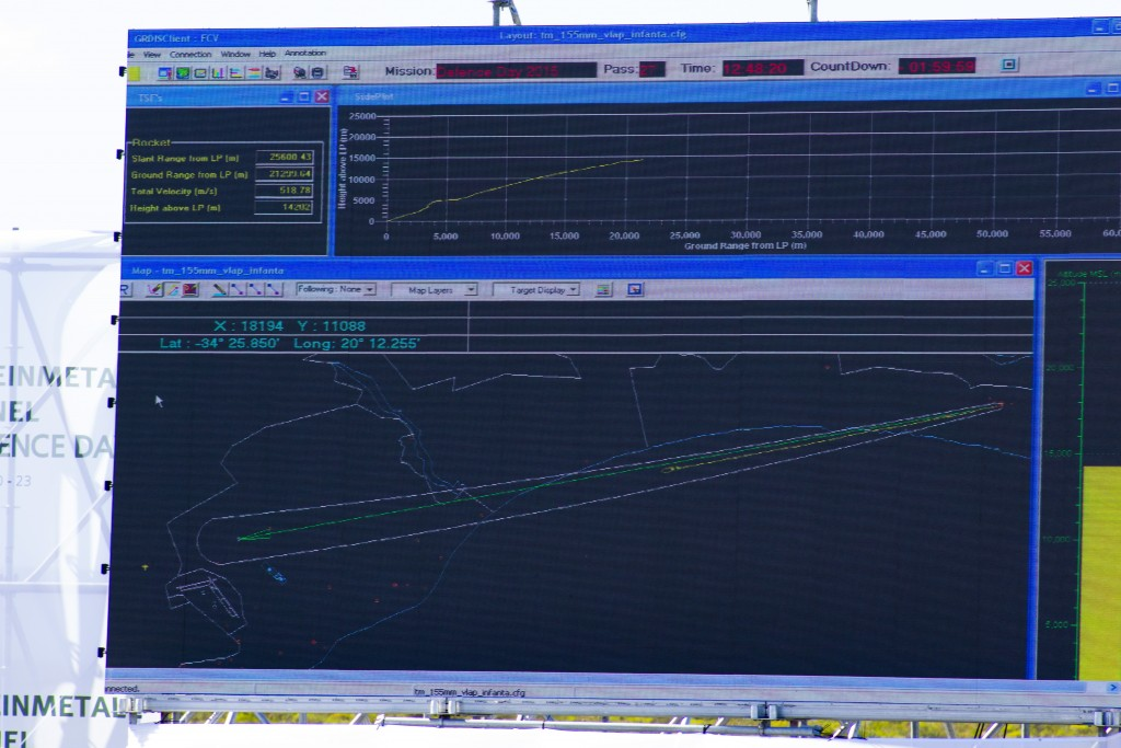 Rheinmetall Denel Defence Day - tracking software showing the movement of a 155mm rocket-assisted shell across the range.