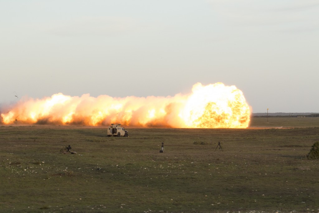 Rheinmetall Denel Defence Day - The resultant explosion of 100+ metres of mine-clearing Plofadder 160AT MKII explosives. ADR/JOHN STUPART