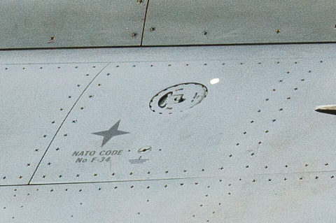 A close-up view of one of the gravity refuelling ports. Note the lettering indicating JP-8 fuel. (ADR/Darren Olivier)