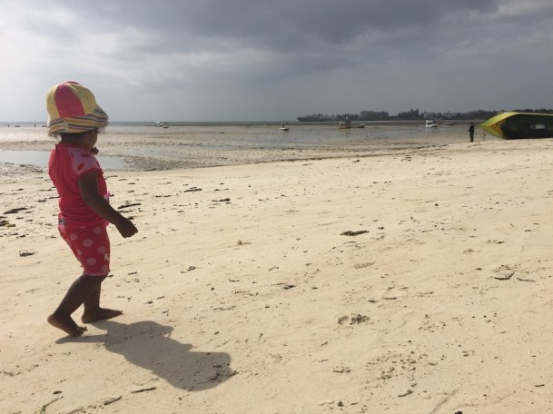 Nips exploring the famous white sands of Mombasa.