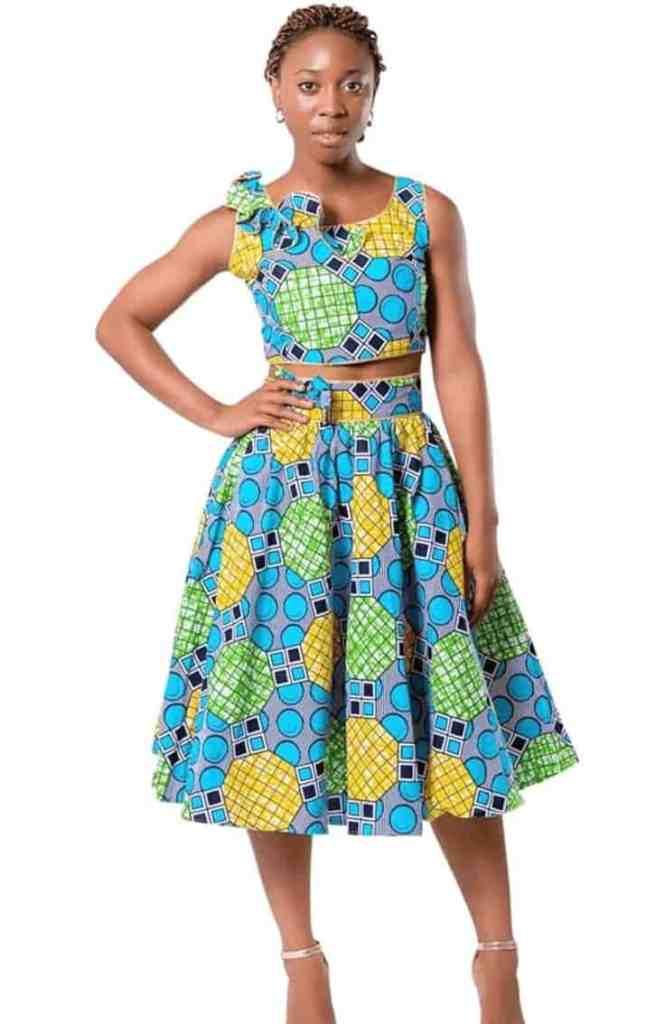 Ankara crop top and maxi skirt