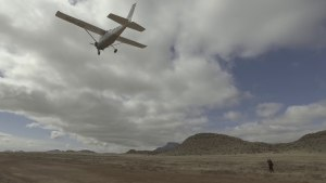 Takeoff with Cessna 206 from Neusberg Boerdery in The Karoo