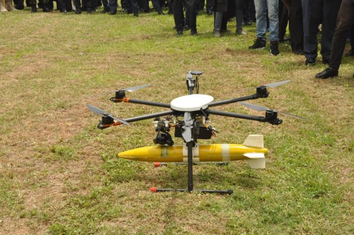 Nigerian Air Force Hexacopter armed with bomb
