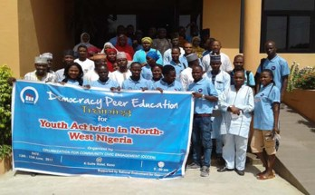 Youth democracy activists in a group picture shortly after the training