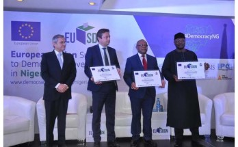 European Union Ambassador to Nigeria and ECOWAS Ketil Karlsen (second from left) and Mahmoud Yakubu, chairman of Nigeria's Independent National Electoral Commission (fourth from left) at the launch of €26.5M-worth Support to Democratic Governance in Nigeria (EU-SDGN) programme Photo: EU-SDGN