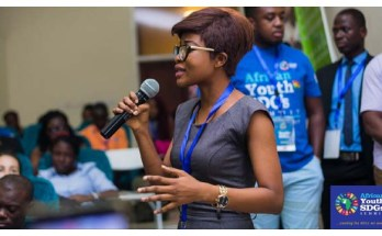 A youth delegate speaking at the maiden African Youth SDGs Summit in November, 2017