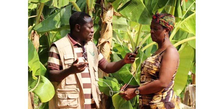 A woman being interviewed by Radio Farm International Photo: Farm Radio