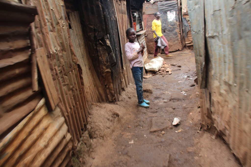 Little girl in Kiber slum in Kenya