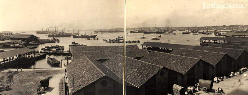 Panoramic view of Colombo Harbour early 1900_s