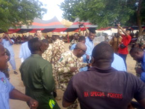 General Officer Commanding Dances With Wounded Troops In Hospital