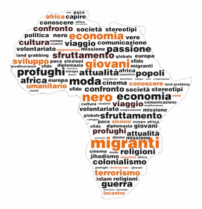 Africa con brainstorming di parole