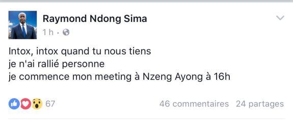 démenti de Ndong Sima