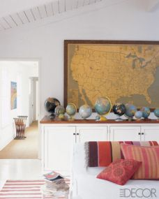 Map with Globes - Maps in Home Decor - www.AFriendAfar.com