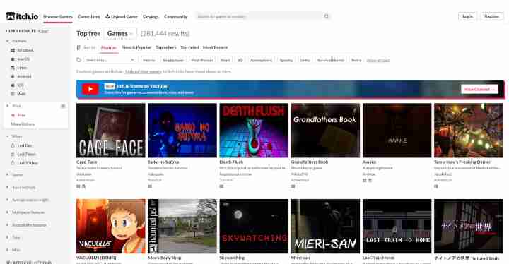 Itch.io Jeux-vidéo gratuits