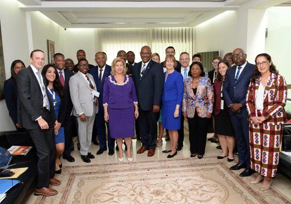 Dominique Ouattara et des membres du congrès américain lors du forum Agoa à Abidjan en août 2019. Photo : DR