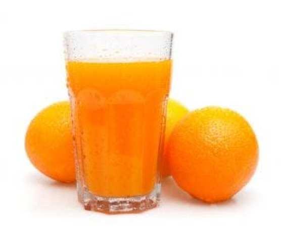 Glass of Fresh Orange Juice on White Background