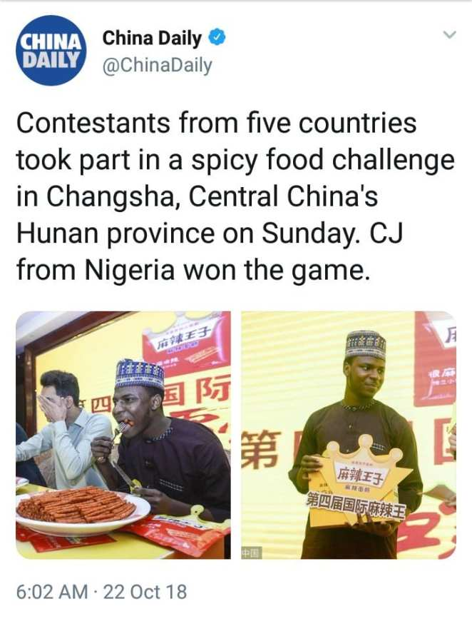 China: Nigerian wins trophy for the biggest spicy dish eater