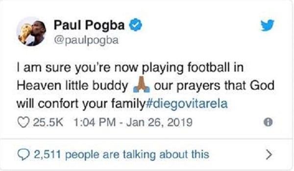 L' émouvant message de Paul Pogba suite au décès d'un jeune footballeur de 15 ans