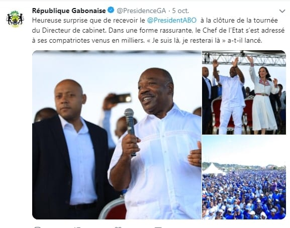 "Gabon: ""I am here, and I will always be there"", says President Ali Bongo"