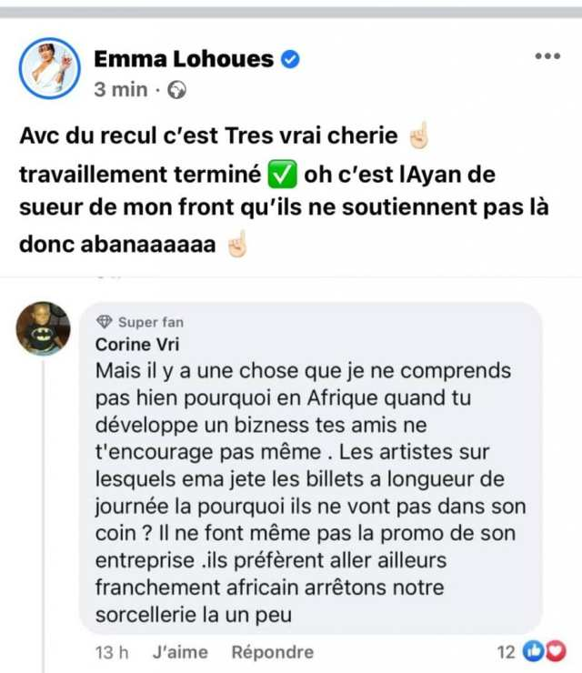 """Emma Lohoues révèle pourquoi elle ne fera plus de """"travaillement"""" sur les artistes ivoiriens"""
