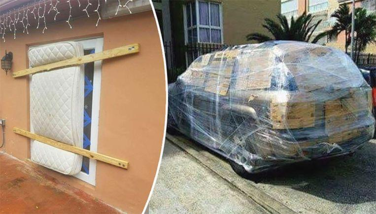Photo of Houses, cars in Florida barricaded with everything possible for Hurricane Dorian