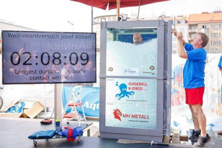 Austrian takes ice bath of 2 hours, 8 minutes and improves world record