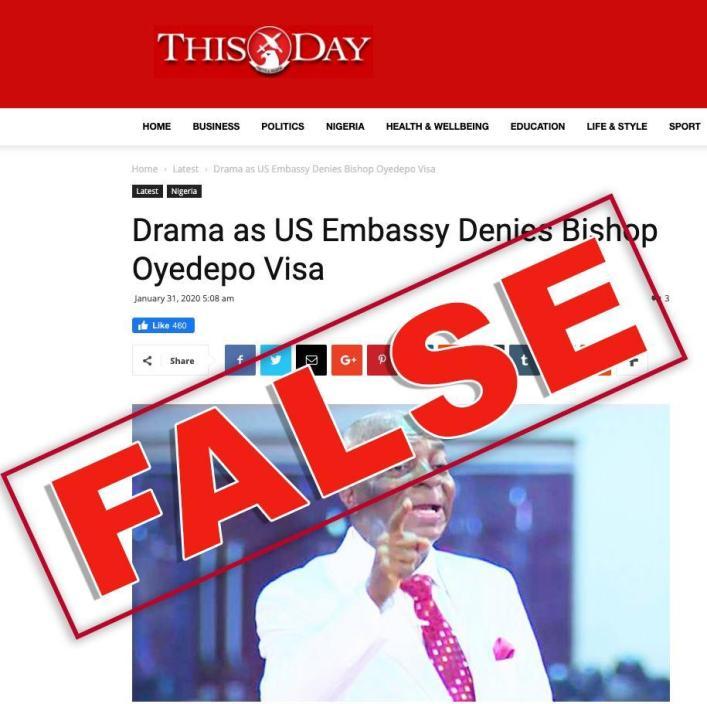 US embassy Nigeria reacts to visa denial to bishop Oyedepo