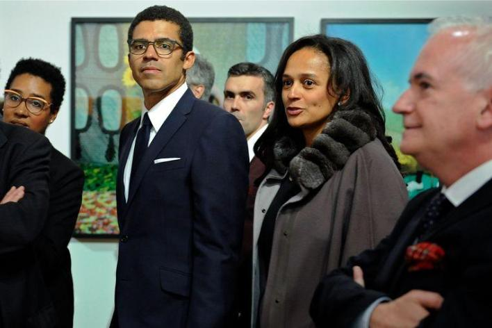 Isabel dos Santos and her husband Sindika Dokolo in 2015, at the opening of an art exhibition in Porto, Portugal with works from Dokolo's collection.
