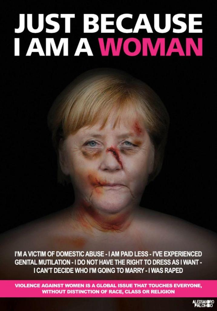 The German Chancellor as a victim of domestic violence.