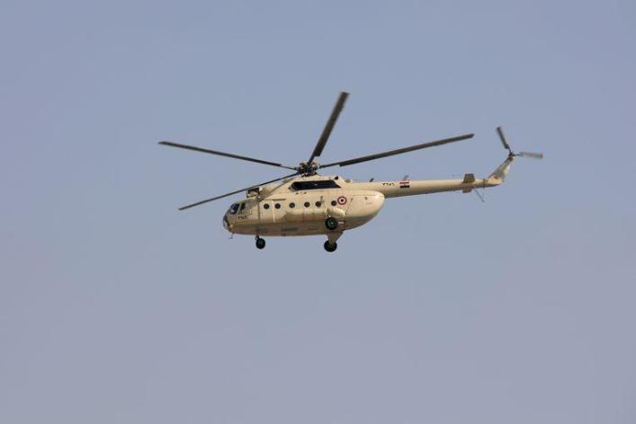 The body of Mubarak was flown in by an army helicopter.