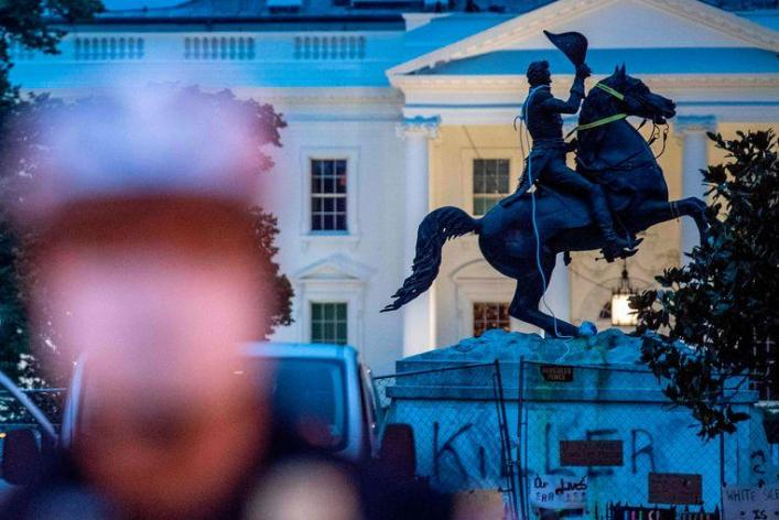 Trump lashes out at protesters who wanted to remove the controversial White House statue
