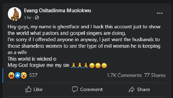 Hacker exposes Pastor's infidelity affairs with married women