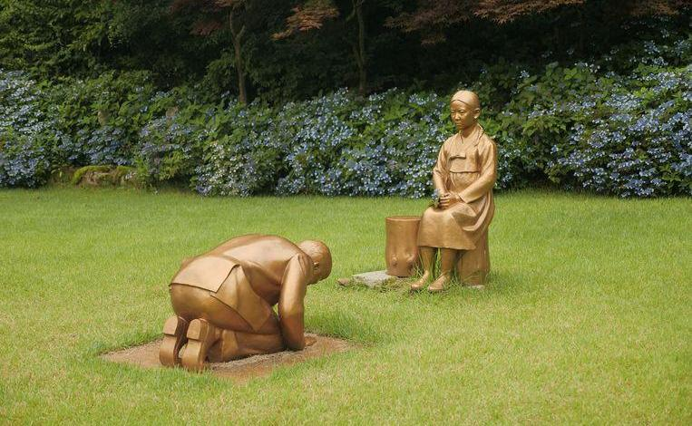 """Photo of Japan furious over South Korean statue resembling Prime Minister bowing to """"comfort girl"""""""