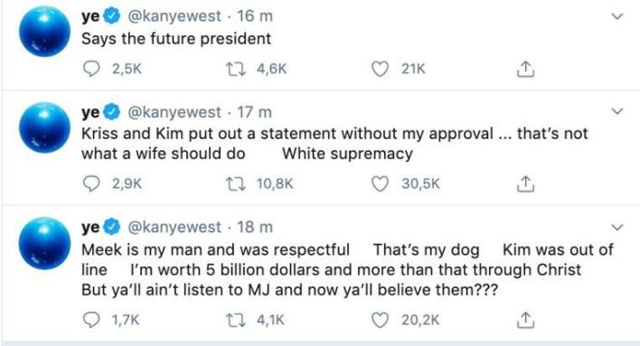 Kanye West posted a series of strange tweets online again on Tuesday night.