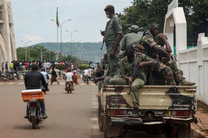 Military in the streets of capital Bamako.