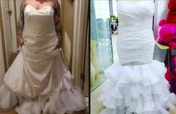 Aubrey wears the dress inside out without even realizing it. Right: the dress as it should have looked.
