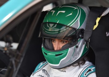 Saudi Arabia's first female race driver Reema al-Juffali is pictured inside her car during an interview with AFP in Diriyah district in Riyadh on November 20, 2019, ahead of the international Jaguar I-PACE eTROPHY series for electric zero-emission cars set for the weekend. PHOTO: FAYEZ NURELDINE / AFP