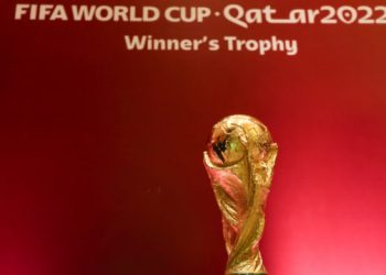 The world cup trophy, designed by Italian sculptor Silvio Gazzaniga, is pictured during the CAF draw, for the second round of Confederation of African Football (CAF) matches for 2022 FIFA World Cup qualification, in the Egyptian capital Cairo on January 21, 2020. (Photo by Mohamed el-Shahed / AFP)