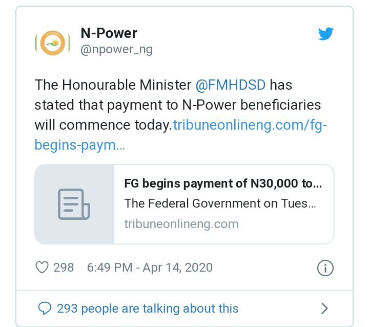 Npower stipend payment