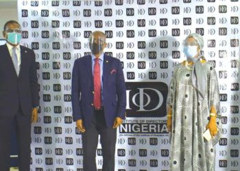 President/Chairman Governing Council, Institute of Directors (IoD) Nigeria, Chris Okunowo; flanked by the Director General/Chief Executive Officer, Dele Alimi (left); and Chairman, Ethics Committee, Amina Oyagbola, at a press briefing to announce the launch of the IoD Nigeria Code of Ethics 2020 on August 6…yesterday.