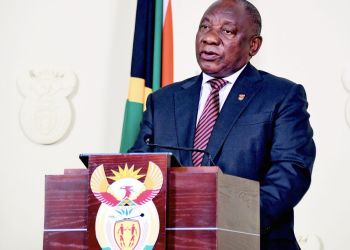 FILE PHOTO: South African President Cyril Ramaphosa speaks during a past televised speech in Pretoria, South Africa. (Xinhua)