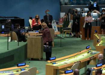 A delegate (C) casts her ballot for the election of five non-permanent members of the UN Security Council at the UN headquarters in New York, on June 11, 2021. Albania, Brazil, Gabon, Ghana, and the United Arab Emirates (UAE) were elected non-permanent members of the UN Security Council on Friday for a two-year term. The newly elected members will take up their new responsibilities on Jan. 1, 2022, and will serve till Dec. 31, 2023. (Evan Schneider/UN Photo/Handout via Xinhua)