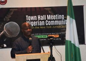 Amb. Lot Egopija, Consul-General of Nigeria in New York, delivering remarks at a Town Hall meeting organised for Nigerian nationals in the U.S. PHOTO: NAN