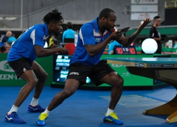 Olajide Omotayo (left) and Quadri Aruna of Nigeria compete at the ITTF Team World Cup, a Tokyo 2020 Test Event at the Tokyo Metropolitan Gymnasium on November 07, 2019 in Tokyo, Japan. Photo: AFP
